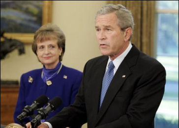 Dubya and Court nominee Harriet Miers
