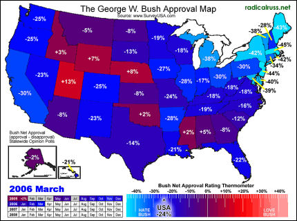 Where is Dubya's approval the highest?