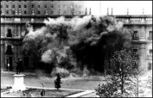 Chile's presidential palace being bombed, 1973