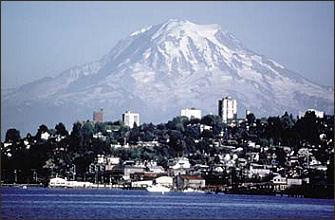 Mt Rainier over Tacoma skyline