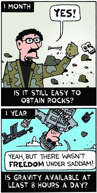 Ted Rall cartoon on Bush's Iraq benchmarks