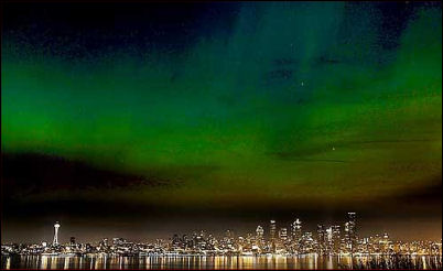 Northern lights over Seattle