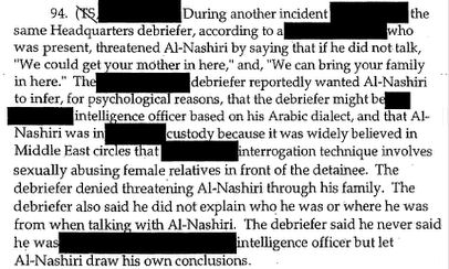 Excerpt of CIA inspector general report dealing with threats to rape al-Nashiri's female relatives