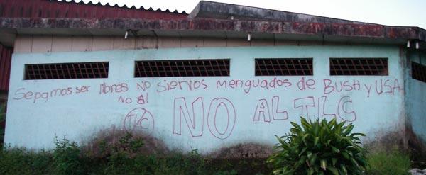Sepgamos ser libres. No servios menguados de Bush y USA. No al TLC. Coto Brus, Costa Rica, 6-29-06. � natasha